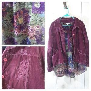 Velvet Jacket & Sheer Blouse sz 1X BOHO